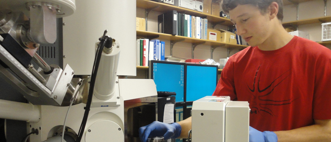 A student is using equipment in the ICAL laboratory.