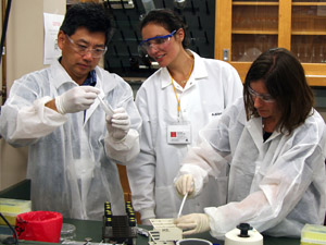 Industry representatives receive hands-on laboratory instruction during a workshop at the Center for Biofilm Engineering on the Montana State University campus.